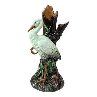 1890 Delphin Massier Majolica Stork Vase For Sale