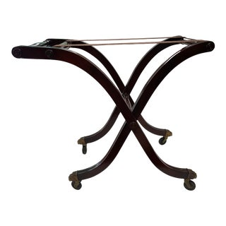 Mahogany Luggage Rack With Wheels For Sale