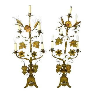 1930s Hollywood Regency Style Gilt Floral Lamps - a Pair For Sale
