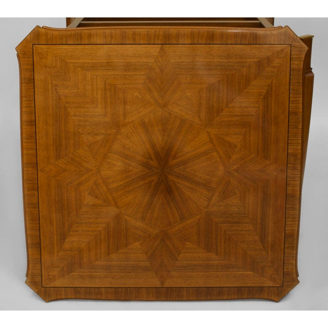 1940s 1940s French Art Deco Light Mahogany Square Game Table For Sale - Image 5 of 7