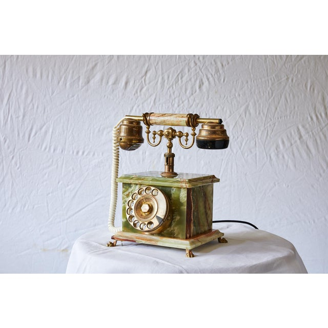 Mid 20th Century Vintage Italian Green Onyx and Gilded Bronze Telephone For Sale - Image 5 of 13