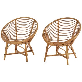Pair of Mid-Century Bamboo Rattan Chairs From France For Sale