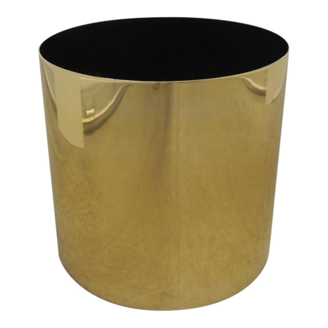 Large Mid-Century Modern Gold Color Round Planter For Sale