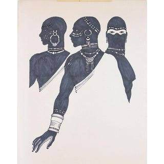 1970s Drawing of Three Figures in Ink For Sale