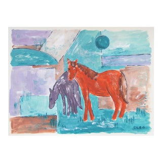Abstract Horses Landscape Painting by Cleo Plowden For Sale