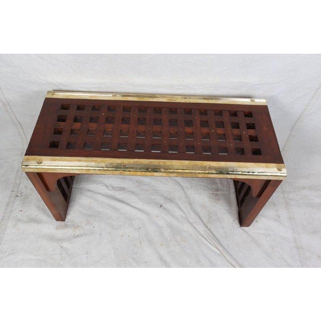 Mid-Century Modern Ship's Nautical Teak Decking Converted to Console Table With Brass Border For Sale - Image 3 of 10
