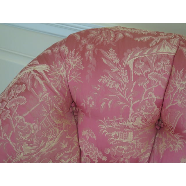 Asian 1990s Vintage Chinoiserie Silk Upholstered Tufted Loveseat For Sale - Image 3 of 13