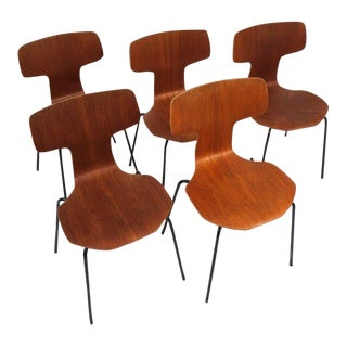 Arne Jacobsen 3103 teak wood laminated set of Five Chairs, 1957