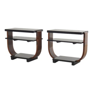 Brown Saltman Deco Side Tables For Sale