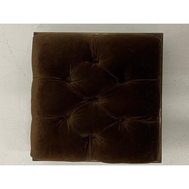 Edwardian Edwardian Brass & Velvet Footstools - a Pair For Sale - Image 3 of 10