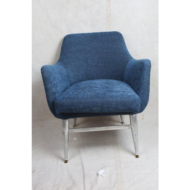 Boho Chic Mid-Century Modern Blue Silk Linen Chairs With Chrome Base and Legs - a Pair For Sale - Image 3 of 10
