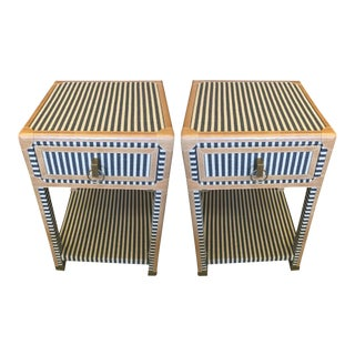 Blue and White Striped Nightstands - a Pair