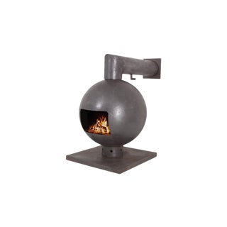 Brutalist Spherical Fireplace by Dries Kreijkamp in Cast Iron For Sale