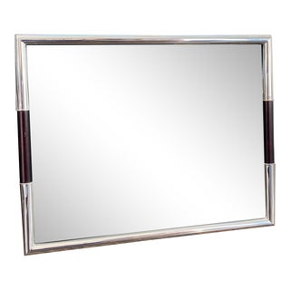 Ralph Lauren Style Silver Picture Frame With Wood Detail For Sale