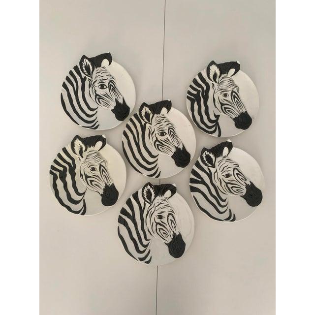 Vintage Zebra Plates for Bonwit Teller - Set of 6 For Sale - Image 11 of 11
