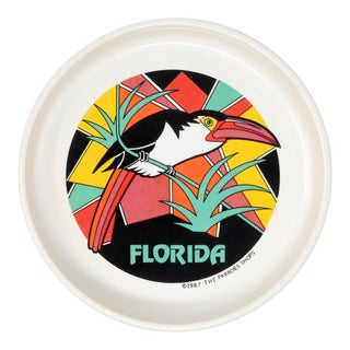 1987 Vintage Ceramic Florida Ashtray With Toucan For Sale