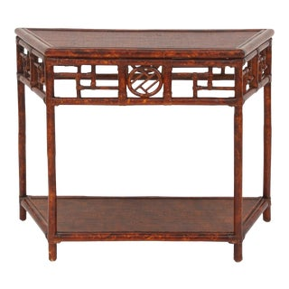 Demilune Table, Large, Brown, Rattan For Sale