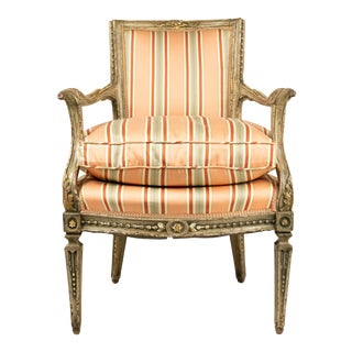 Italian Neoclassic Pink Stripe Arm Chair For Sale