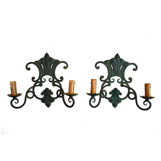 French French Wrought Iron Sconces - a Pair For Sale - Image 3 of 3