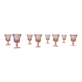 Mid 20th Century Pink Fostoria Wine Glasses - Set of 8 For Sale