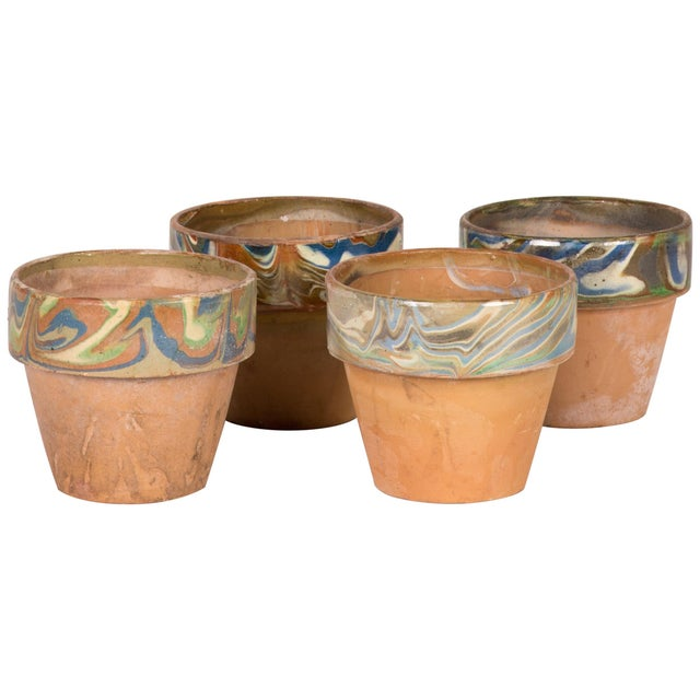 Set of Four Decorated and Glazed Rim Pots From 1960s England For Sale In Los Angeles - Image 6 of 6