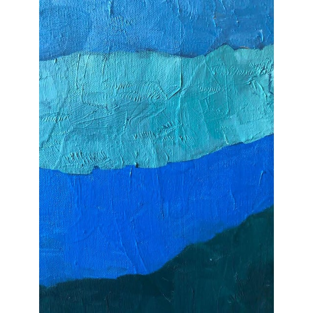 "1970s Abstract ""Shades of Blue"" Oil Painting on Canvas For Sale - Image 5 of 9"