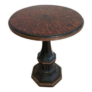 Traditional Faux Tortaishell Side Table For Sale