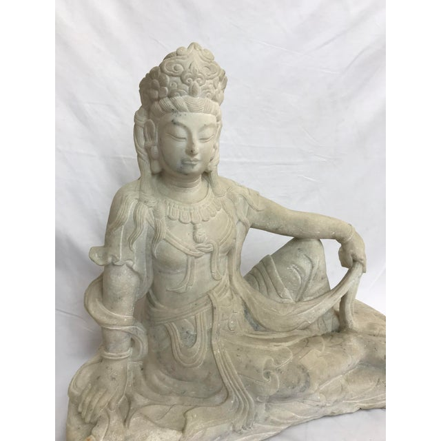 Asian Guanyin / Guan Yin Bodhisattva Carved Marble Immortal Reclining Buddha Figure For Sale - Image 3 of 12
