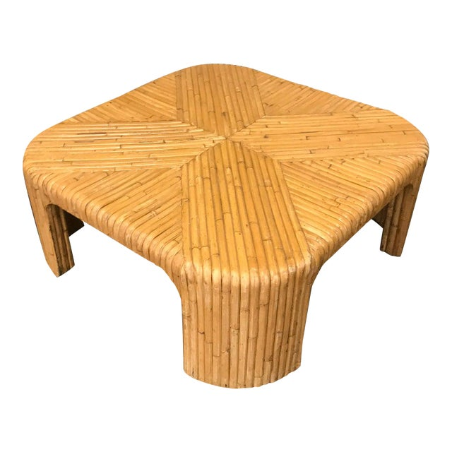 Gabriella Crespi Style Split Reed Rattan Coffee Table For Sale