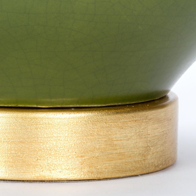 Casa Cosima Double Gourd Table Lamp, Olive Craquelure/Blue Stream Shade, a Pair For Sale In Los Angeles - Image 6 of 7