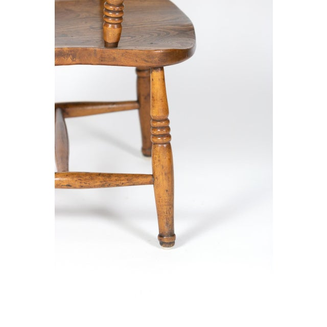 English Elm Vertical Slat Back Armchair Circa 1890 With Turned Legs and H-Stretcher For Sale - Image 12 of 13
