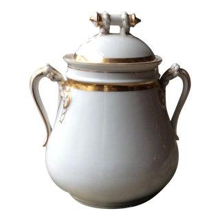 "1900s Haviland Limoges ""Anchor & Cable Rope"" Gilt Confirtue Jam Jar For Sale"