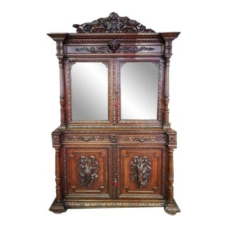 Antique French Carved Walnut Hunters Cabinet For Sale