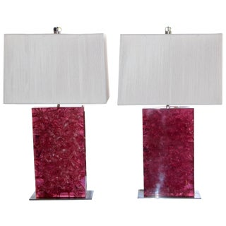 Crackle Resin Pink Lamps With Silk String Shades - a Pair For Sale