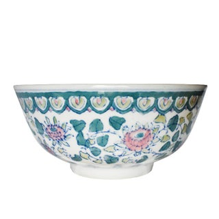 Ceramic Chinoiserie Blue White and Pink Serving Dish or Fruit Bowl For Sale