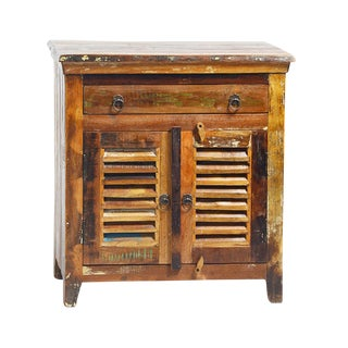 Reclaimed Wood Side Cabinet with Drawer For Sale