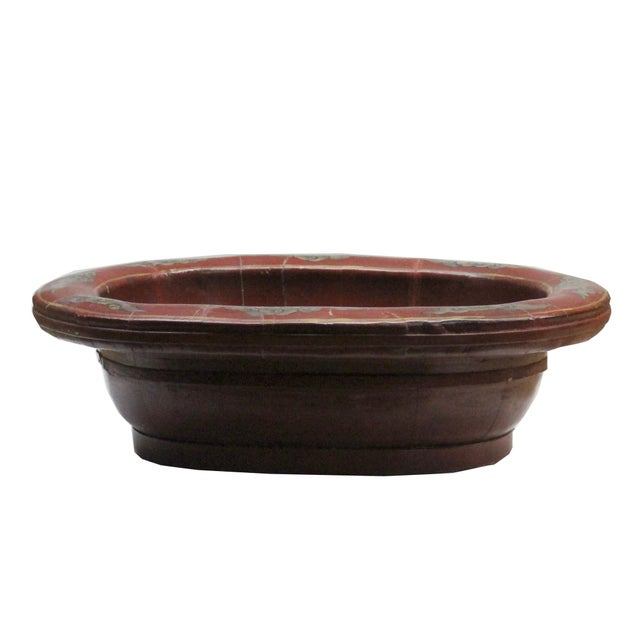 Asian Chinese Vintage Distressed Red Flower Oval Shape Wood Bucket For Sale - Image 3 of 9