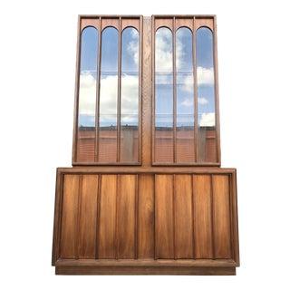 Mid Century Modern Keller Walnut & Glass Hutch Cabinet For Sale