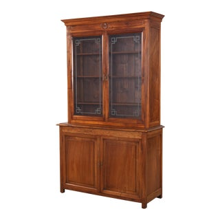 1800s French Napoleon III Walnut Cabinet Bookcase For Sale