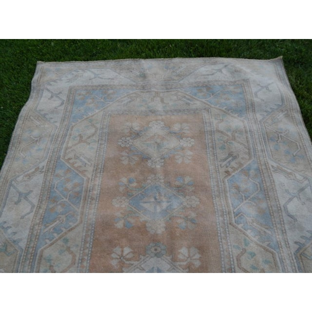 Textile Distressed Oushak Hand Knotted Rug - 5′2″ × 8′4″ For Sale - Image 7 of 9
