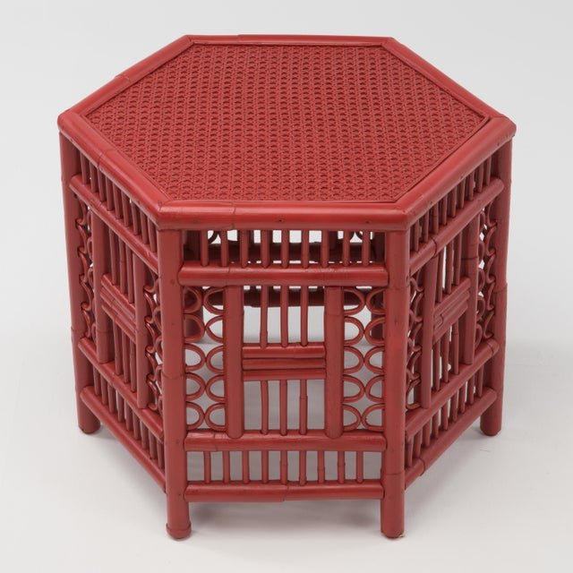 1970s Chinoiserie Hexagonal Bamboo Coffee Side Table For Sale In Philadelphia - Image 6 of 12