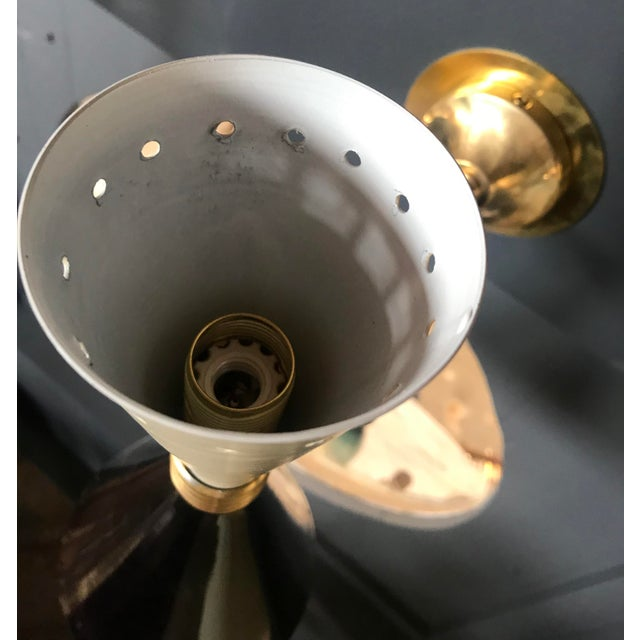 Metal 1960s Italian Black and White Brass Sconces - a Pair For Sale - Image 7 of 9