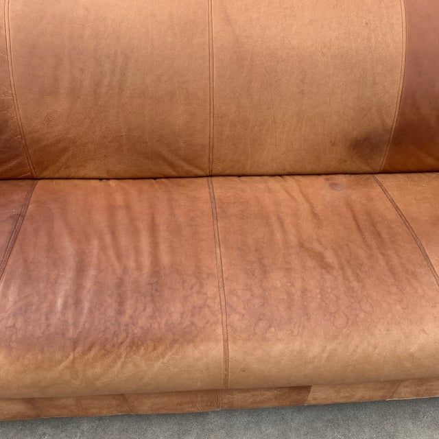 Brown Post Modern Italian Leather Sofa For Sale - Image 8 of 13