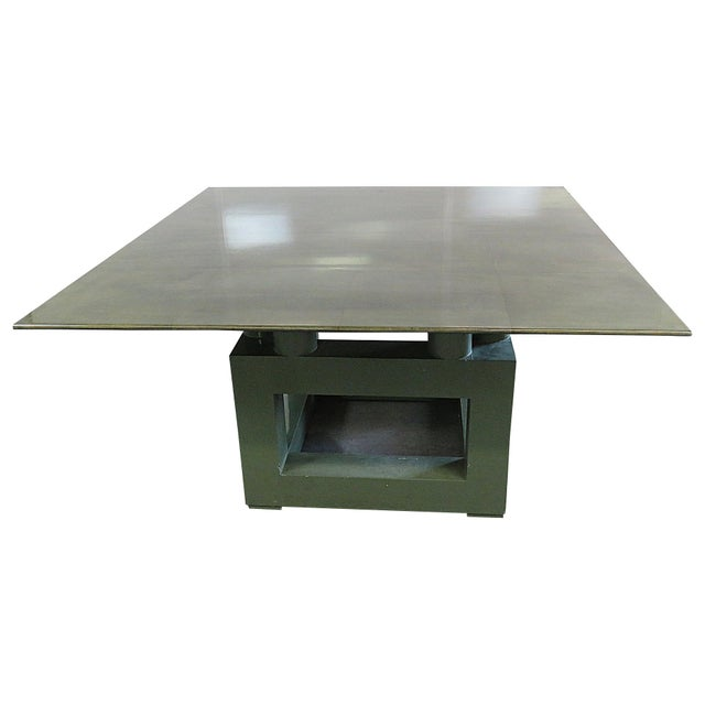 Shagreen Top Painted Wood Dining Table For Sale - Image 11 of 11
