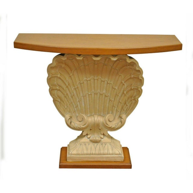 1940s Hollywood Regency Plaster Shell Form Console Hall Table For Sale - Image 11 of 11