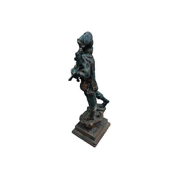 French Cast Iron Boy & Calf Garden Statue - Image 4 of 6