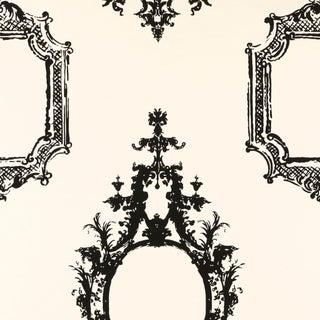 Schumacher Go Baroque Wallpaper in Noir & Blanc For Sale