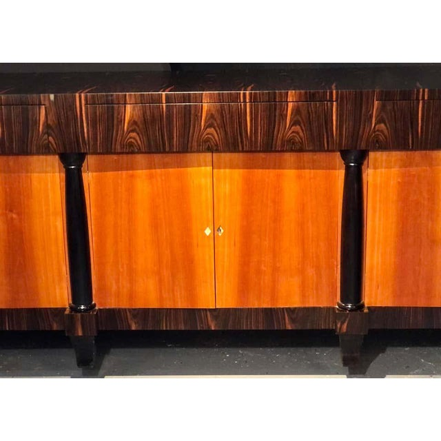 Art Deco Palatial Six Door Macassar Sideboard Cabinet Ebonized Column and Feet Support For Sale - Image 3 of 13