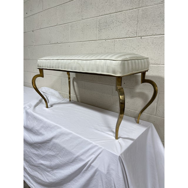 Italian Brass Upholstered Bench For Sale - Image 13 of 13