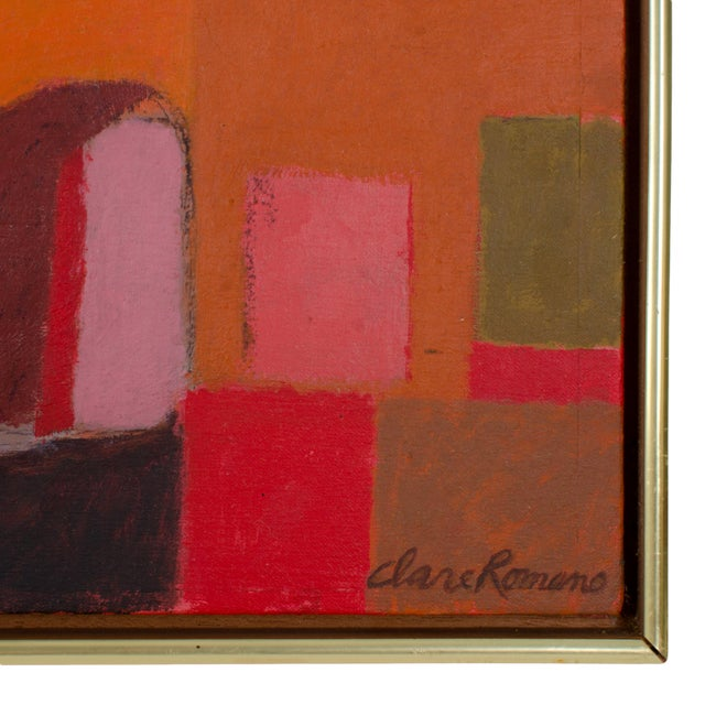 Mid-Century Modern Abstract Oil Painting on Canvas by Clare Romano For Sale - Image 3 of 5